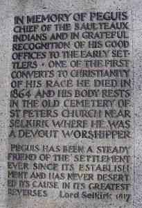 Chief Peguis Memorial inscription